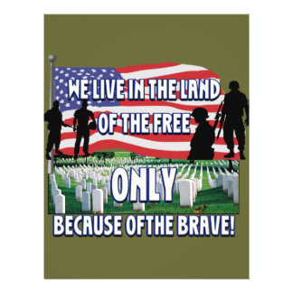FREEDOM COSTS!  WE LIVE FREE BECAUSE OF SOLDIERS 21.5 CM X 28 CM FLYER