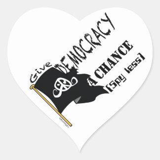 "Freedom sticker (heart1.5""DemocracyPiratesSpyLess) Heart Sticker"