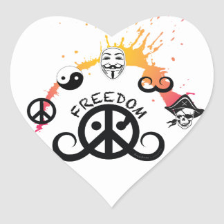 "Freedom sticker (heart 1.5""; origin/mini splash) stickers"