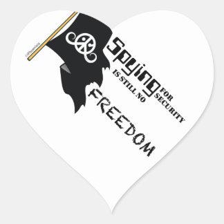 """Freedom sticker (heart 1.5""""; Spying Freedom) Heart Sticker"""