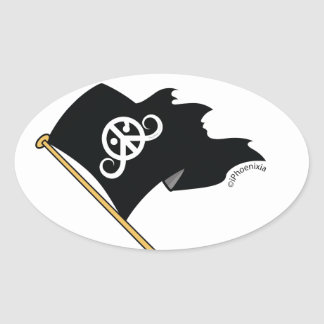 "Freedom sticker (oval 3.5 x 2.7"") (Pirate flag ;) Oval Stickers"