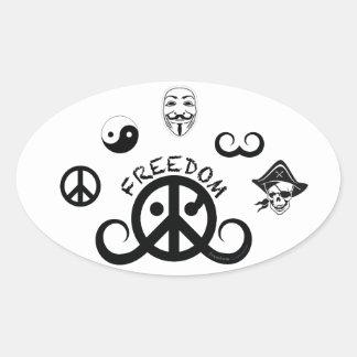 "Freedom sticker (oval 4.5 x 2.7""; origin motif) oval stickers"