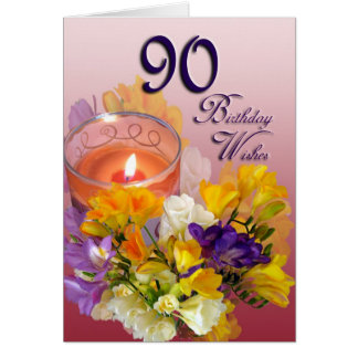 A happy 90th birthday flowers greeting cards zazzle freesias 90th birthday wishes greeting card bookmarktalkfo Image collections