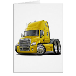 Freightliner Cascadia Yellow Truck Card