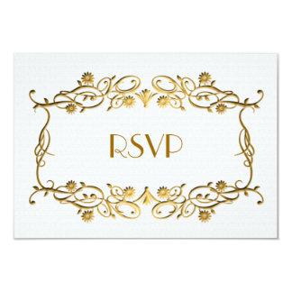French Art Deco Ivory White Gold Foil Wedding RSVP Card