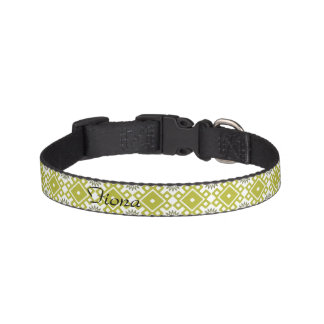 French Asters Custom Dog Collar - Green Diamonds