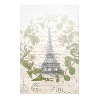 french botanical ivy leaves  paris eiffel tower stationery