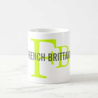 French Brittany Breed Monogram Design Coffee Mug