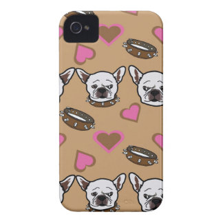French bull dog and hearts pattern iPhone 4 cases