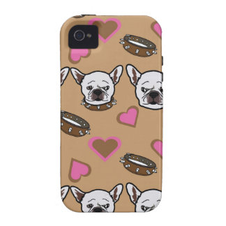 French bull dog and hearts pattern iPhone 4/4S covers