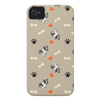 French bull dog, dog treat and paw patterns iPhone 4 cover