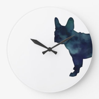 French Bulldog Black Watercolor Silhouette Wallclock