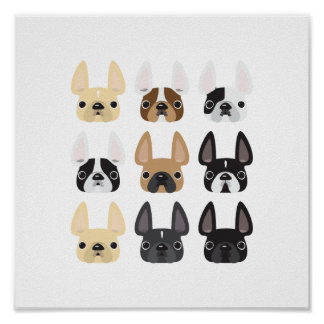French Bulldog Friends Poster