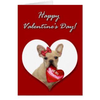 French Bulldog puppy Valentines Day Card