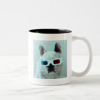 French Bulldog With 3D Glasses Two-Tone Coffee Mug