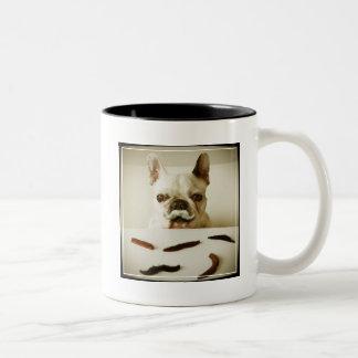 French Bulldog With A Mustache Two-Tone Coffee Mug