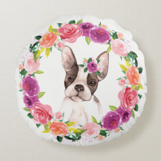 French Bulldog with Floral Wreath Pillow