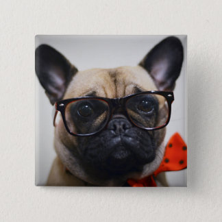 French Bulldog With Glasses And Bow Tie 15 Cm Square Badge