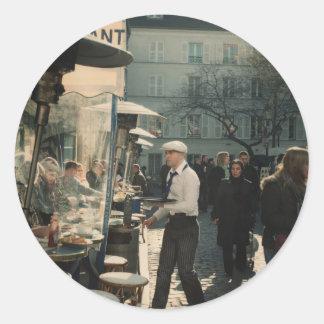 french cafe waiter classic round sticker