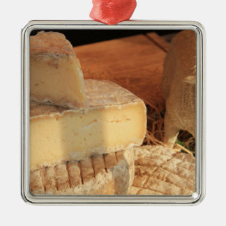 French cheese at a local market Silver-Colored square decoration