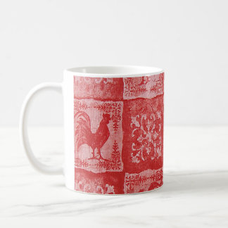 French Country Red Rooster Coffee Cup Basic White Mug