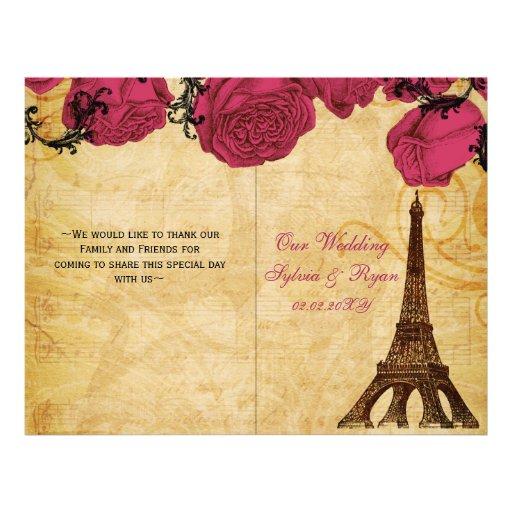 French Eiffel tower pink  folded Wedding program Flyers