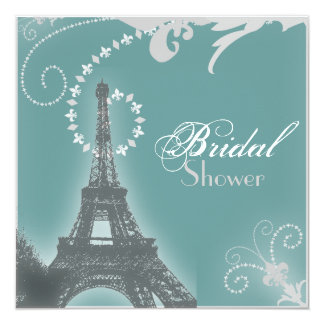 French eiffel tower vintage paris bridal shower card