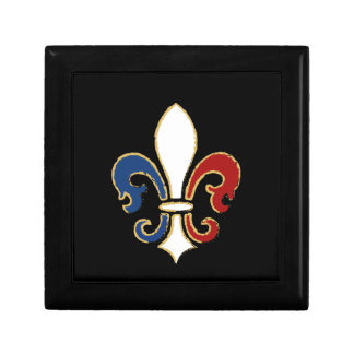 French Flag Fleur de Lis with Gold Gift Box