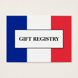 French Flag Wedding Gift Registry Business Card