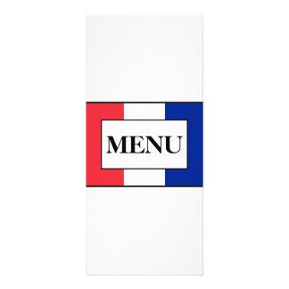 French Flag Wedding Menu Rack Card Design