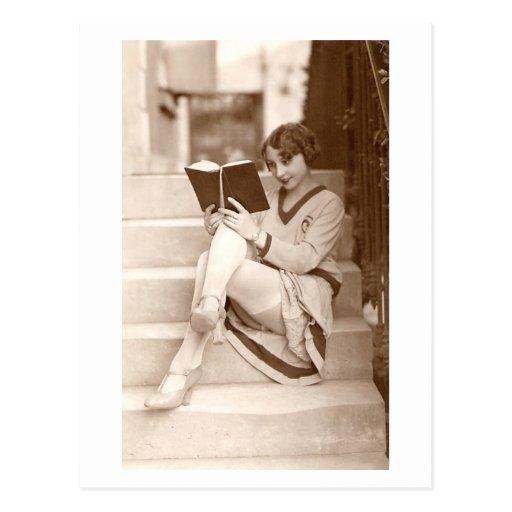 French Flirt - Vintage Hosiery Pinup Girl Post Card