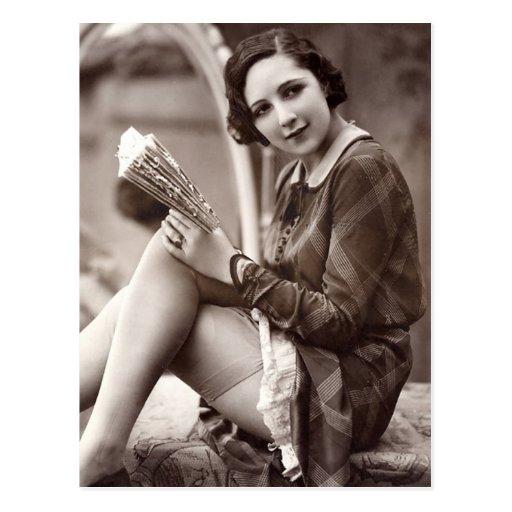 French Flirt - Vintage  Pinup Girl Post Card