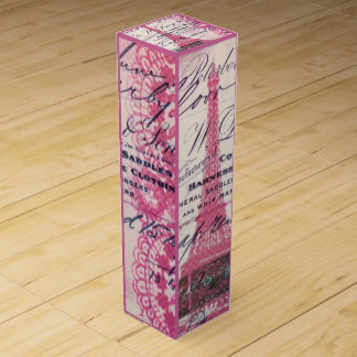French floral lace chic paris girly eiffel tower wine bottle boxes