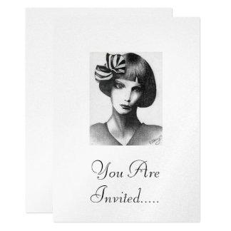 French Girl 13 Cm X 18 Cm Invitation Card