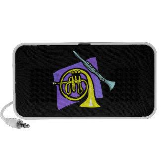 French Horn Clarinet Purple Background Graphic Travel Speaker