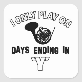 FRENCH HORN DESIGN SQUARE STICKER