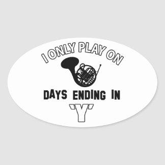 FRENCH HORN DESIGN OVAL STICKER