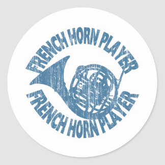 French Horn Player Classic Round Sticker
