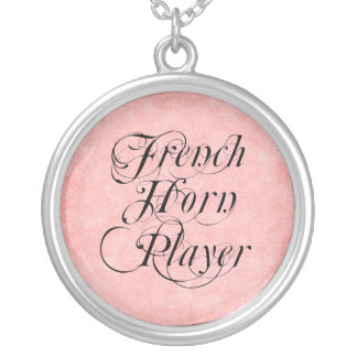 French Horn Player Round Pendant Necklace