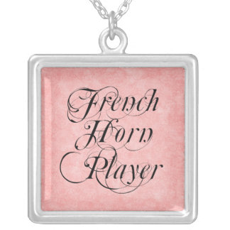 French Horn Player Square Pendant Necklace