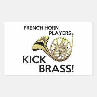 French Horn Players Kick Brass Rectangular Sticker