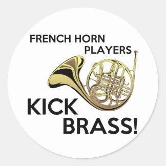 French Horn Players Kick Brass Round Sticker