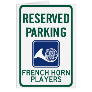 French Horn Players Parking Greeting Card