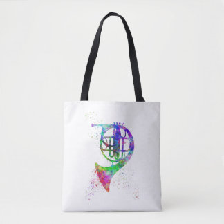 French Horn Rainbow Psychadelic Tote Bag