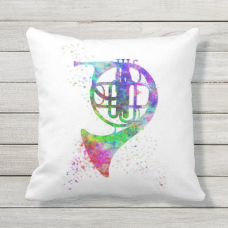 French Horn Rainbow Psychedelic Throw Pillow Throw Cushion