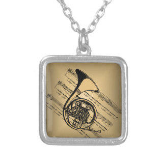 French Horn With Sheet Music Background Silver Plated Necklace