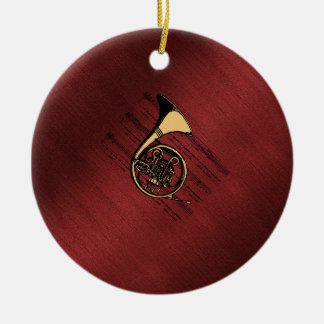 French Horn with Sheet Music ~ Burgundy Sand Christmas Ornament