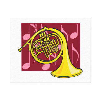 French Horn, Yellow, With Burgundy Notes Back Canvas Print