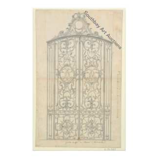 French Iron Choir Gate 14 Cm X 21.5 Cm Flyer