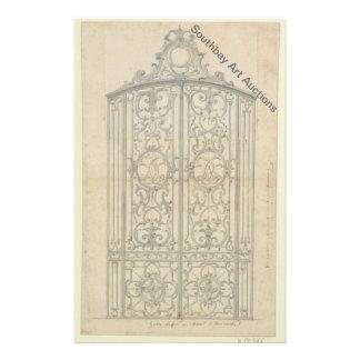 French Iron Choir Gate 14 Cm X 21.5 Cm Flyer